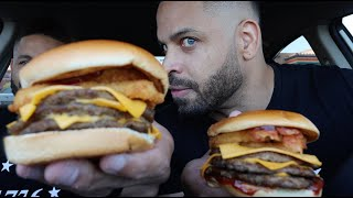 Eating Jack In The Box BBQ Bacon Triple Cheeseburger