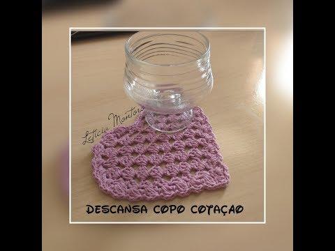Descansa Copo Coração - Crochê - Fácil - Econômico