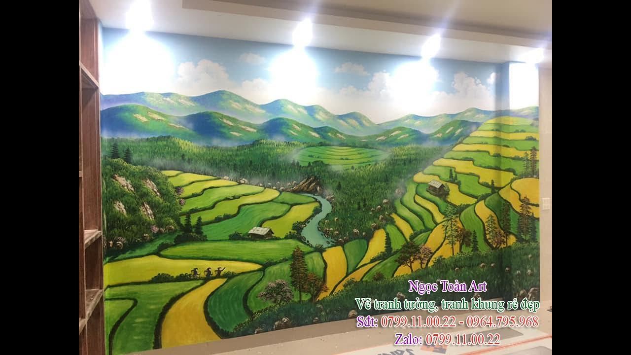 Vẽ tranh tường phong cảnh ruộng bậc thang, thác Bản Giốc ở Hà Nội