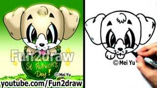 Labrador Retriever - Lab Puppy - How To Draw A Dog For St Patrick's Day - Cute Art - Fun2draw