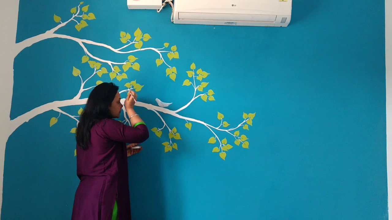 Lovely White Branches Painting On Blue Wall Babita Keshan