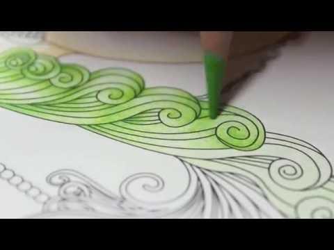 大人の塗り絵 水彩色鉛筆2色重ね塗り Youtube