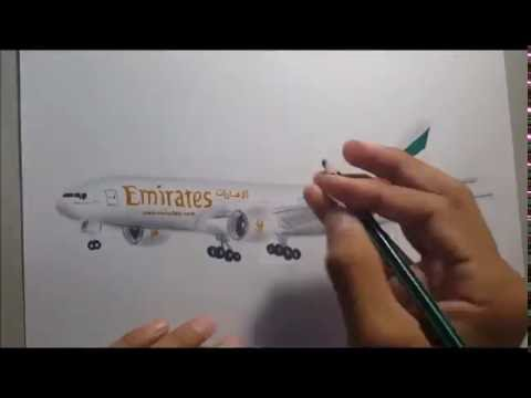 Drawing an Airplane ( Emirates b777)