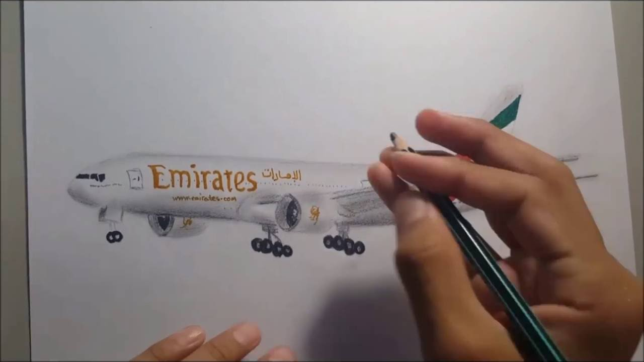 Drawing an Airplane ( Emirates b777) - YouTube