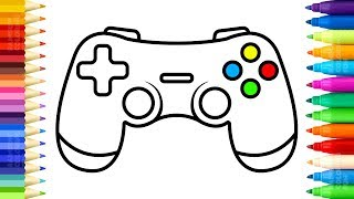How to Draw Gamepad Controller - 3 Coloring Pages and Learn Colors for Kids