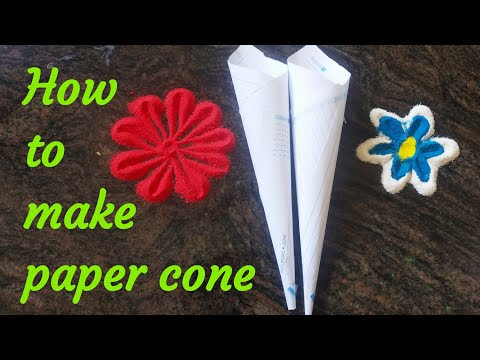 #Arasudesigns#sikkukolam#kambikolam Beautiful paper cone, how to make paper cone - Nandhana