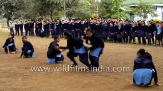 School girls play Kho Kho - traditional Indian game