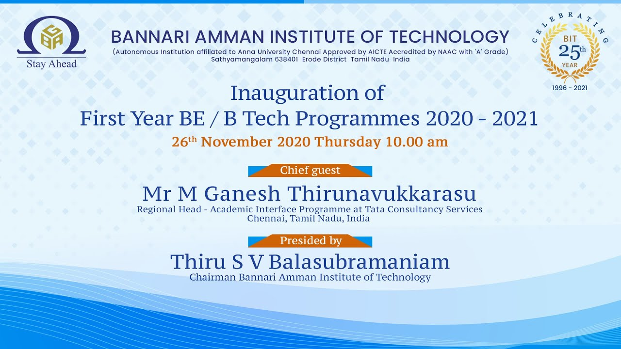 Inauguration of First Year BE / B.Tech Programmes 2020 - 2021