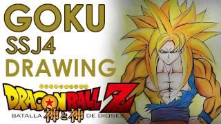 Dibujando a GOKU SSJ4 - DBZ La Batalla de los Dioses (HD)