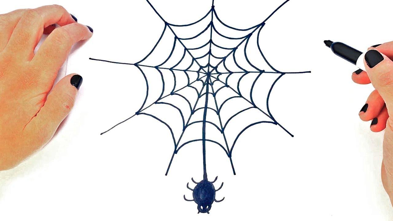 Cómo dibujar un Tela de Araña paso a paso y fácil - YouTube