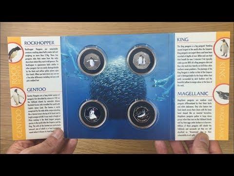 FALKLAND ISLAND PENGUIN 50p COIN SET WITH ALBUM || POBJOY MINT || 2018 VIDEO