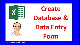 Create Excel Database And Data Entry Form. Excel Magic Trick 1690.