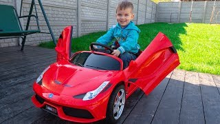 Funny kid Artur unboxing assembling the car Ferrari / Toys review by Melliart