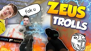 CS:GO - WHEN PROS TROLL WITH THE ZEUS! ft. s1mple, olofmeister, tarik & More!