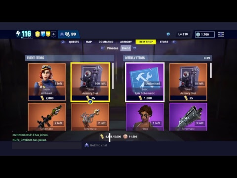 Fortnite Save The World STW - Weekly Item Store 10th January 2019