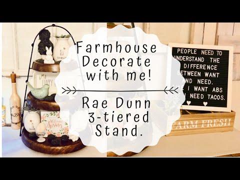 FARMHOUSE DECOR | DOLLAR TREE DIY | THREE TIER TRAY | DECORATE WITH ME | RAE DUNN 3 TIERED TRAY