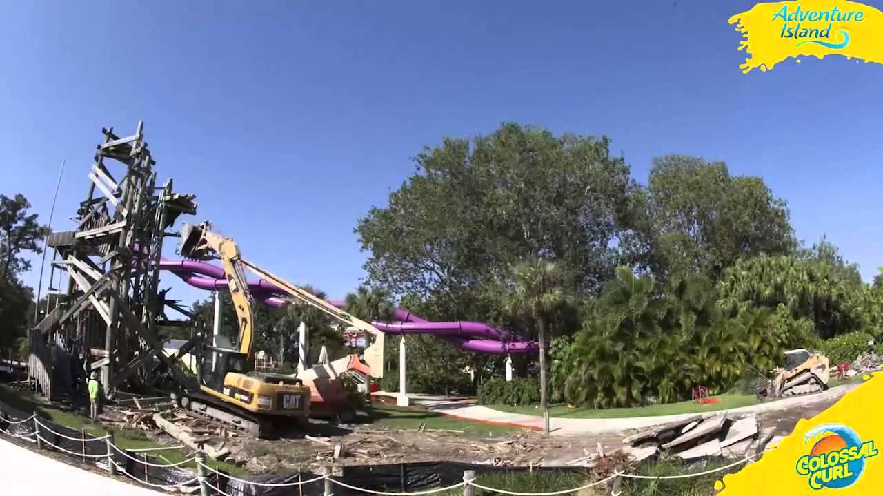 Adventure Island Tampa: Time Lapse Of The Gulf Scream Demolition At Adventure