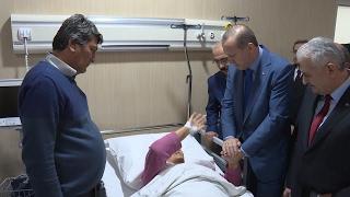 Cumhurbaşkanı Erdoğan, Mersin Şehir Hastanesi'nde tedavi gören hastaları ziyaret etti
