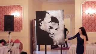 Портрет блестками. Звездная пыль. Танцующий художник.Компания Вячеслава Борисова в Уфе.