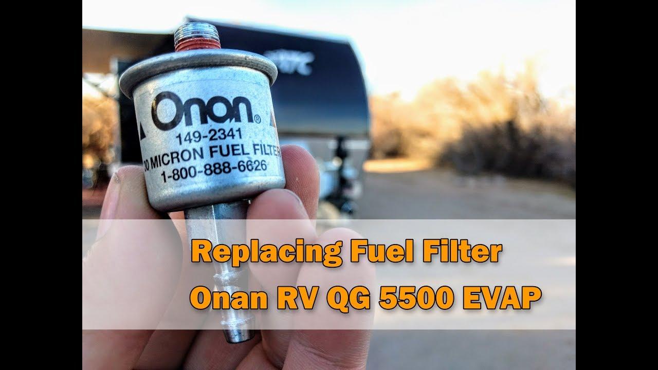 replacing a fuel filter onan generator rv qg 5500 evap youtubereplacing a fuel filter onan generator [ 1280 x 720 Pixel ]