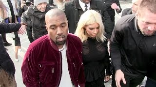 PHOTOGRAPHERS DOWN and FAN ATTACK - Kim Kardashian and Kanye West CHAOS at Louis Vuitton