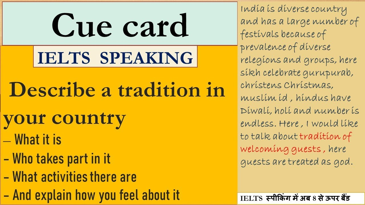 tradition of a country  new cue card tradition of a