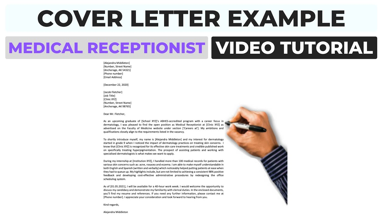 Cover Letter Example Medical Receptionist Writing Video Youtube