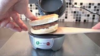 Trying out a Hamilton Beach Breakfast Sandwich Maker in the UK (2013 Video - Old Info)