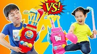 뽀로로 헬로키티 골프 장난감으로 놀아봐요! Mashu and golf ball toys