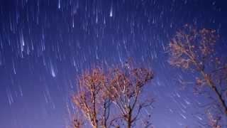 松本市の北側の空へカメラを向けて撮りました。星景ぽく木を手前に入れ...