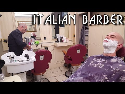 💈 Italian barber -  Head and Face Shave (Shampoo, Ears Hair Eyebrows trimming) - ASMR no talking