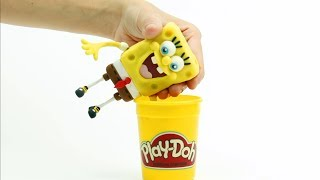 Spongebob pirate costume fun 💕 Superhero Play Doh Stop motion cartoons