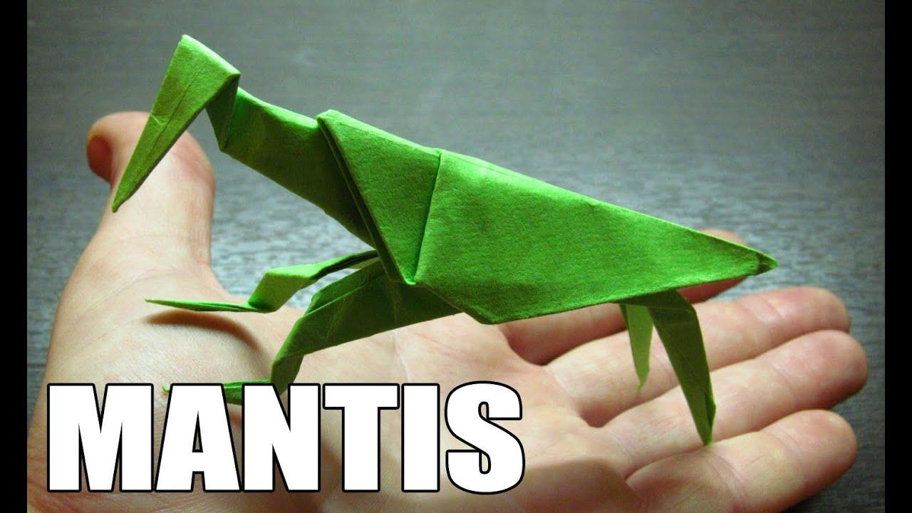 Origami de animales como hacer una mantis religiosa de for Como hacer una pileta de material paso a paso
