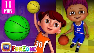 learn colors with basketball   kids play with colorful playing balls   chuchu tv funzone games