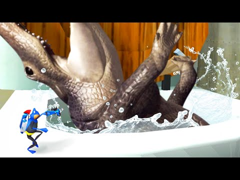 FLUSHING THE GIANT ALLIGATOR DOWN THE MAGIC TOILET - Amazing Frog Part 184 | Pungence