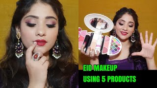 5 MAKEUP PRODUCTS EID CHALLENGE IN 10 MINS || For Teenager/ Beginners || shystyles