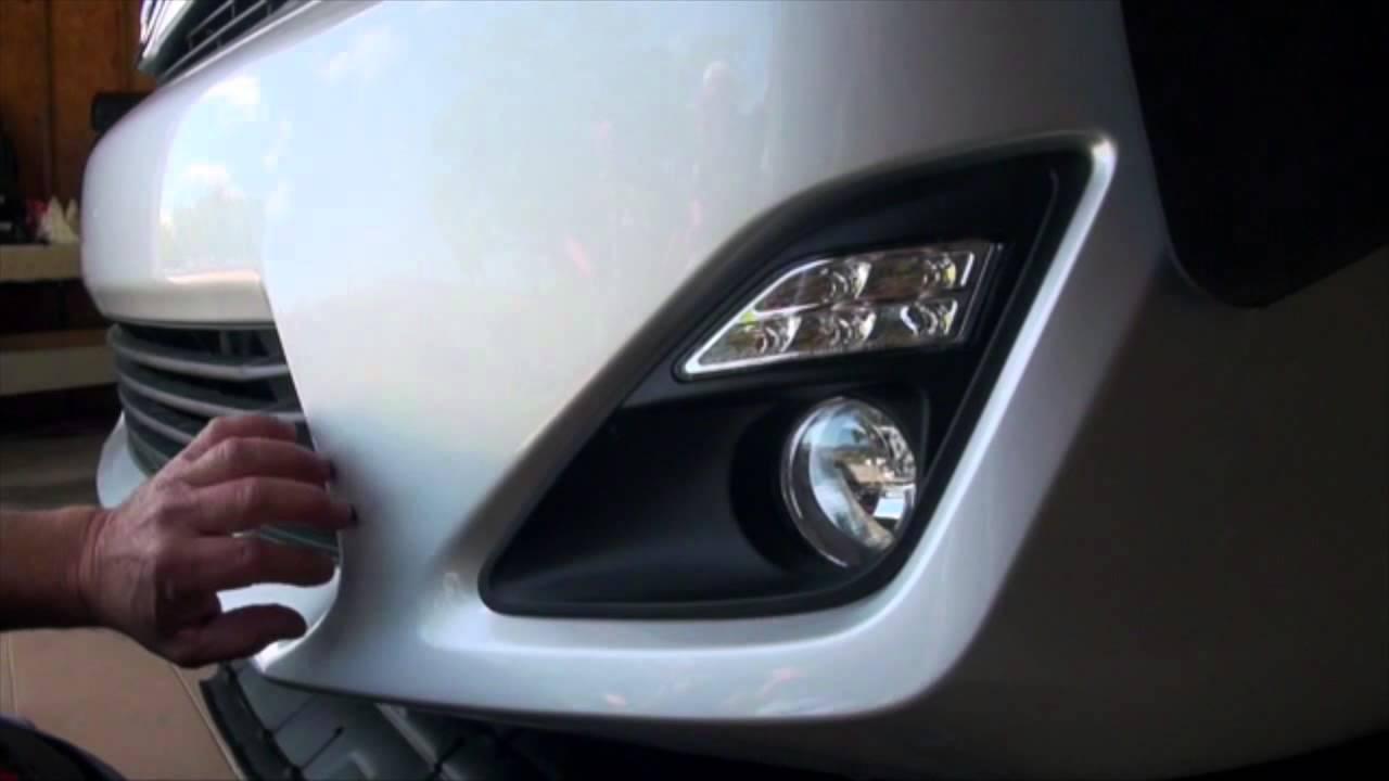 hight resolution of 2012 2014 toyota camry led daytime running lights w halogen fog lights the combo kit highlights youtube