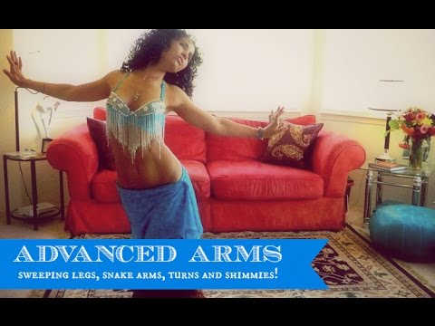Advanced belly dance arms combination (with sweeping legs, snake arms, turns and shimmies!) - 동영상