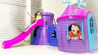 ALİNİN YENİ KALE EVİ Kids build New Playhouse Slide Toy