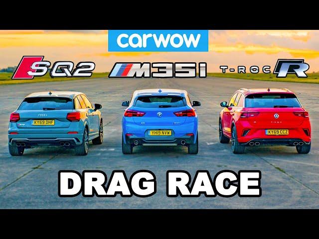 BMW v Audi v VW - HOT HATCH (in disguise) DRAG RACE