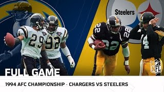 1994 AFC Championship: Junior Seau & Chargers take on Mighty Steelers | NFL Full Game