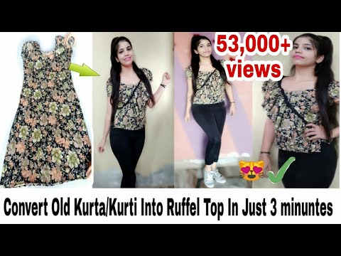 diy:-convert/reuse-old-kurta/kurti-into-ruffle-top-in-just-3-minutes|neshafashion
