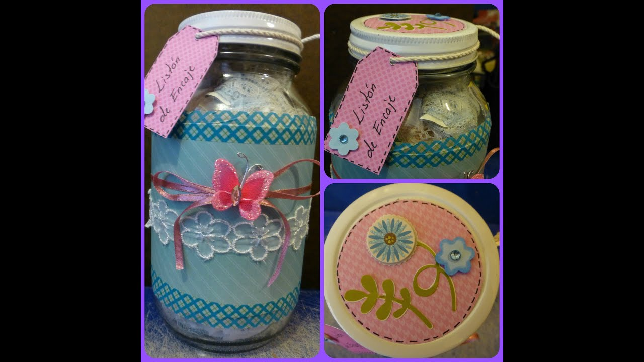 Diy frasco decorado tipo scrapbook jar craft tutorial for Como decorar una cocina