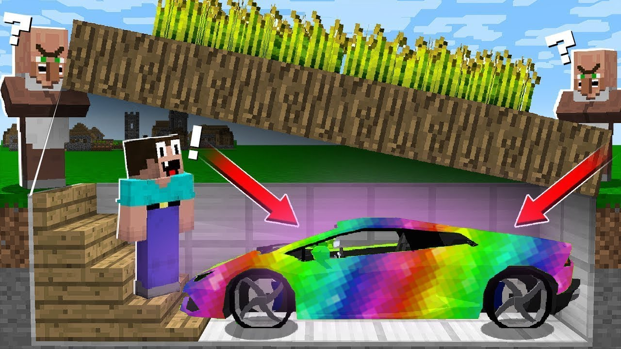 WHY VILLAGER HIDE the RAINBOW CAR UNDER FARM? in Minecraft Noob vs Pro