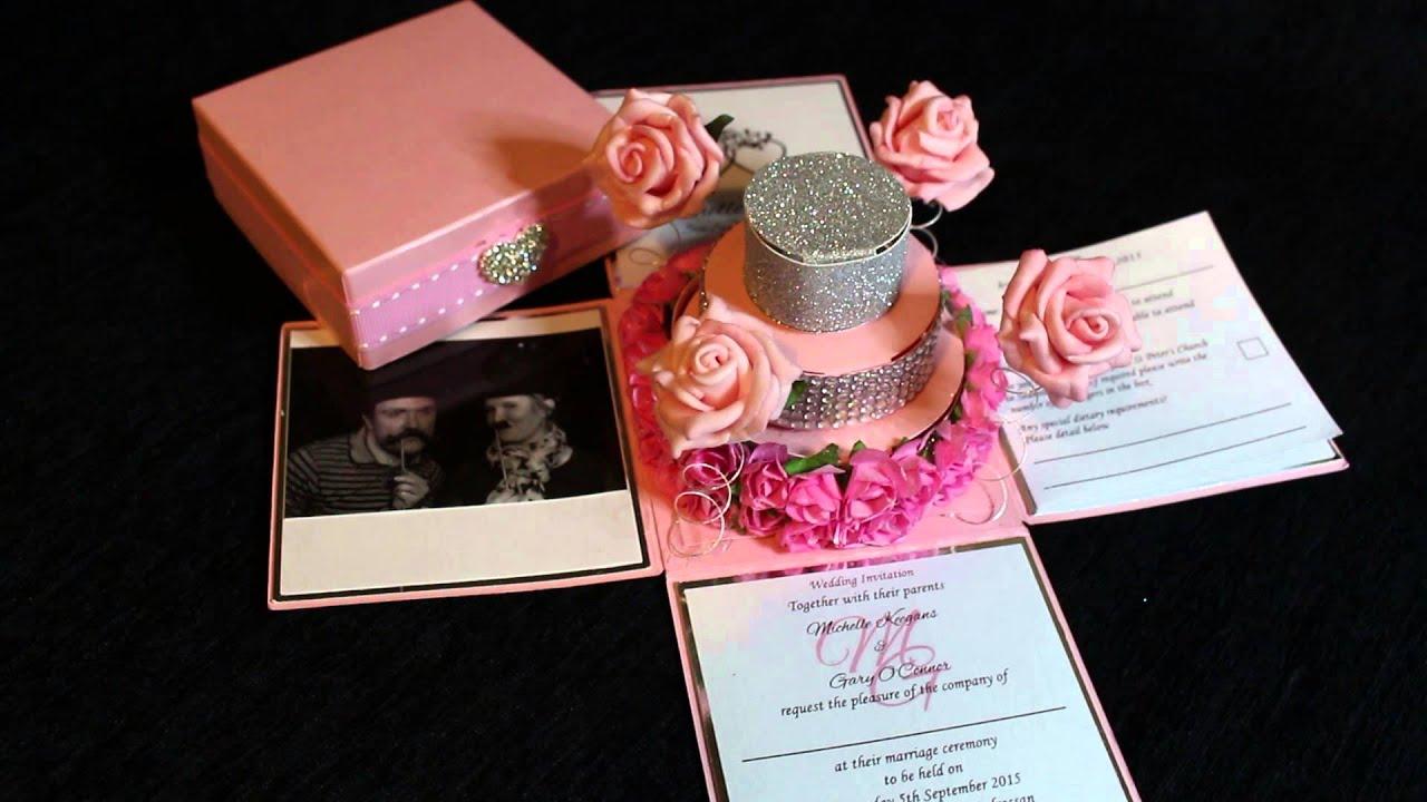 Rose Cake Exploding Box Wedding Invitation YouTube