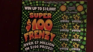 Pennsylvania Lottery Super 100 Frenzy Scratch Off Ticket