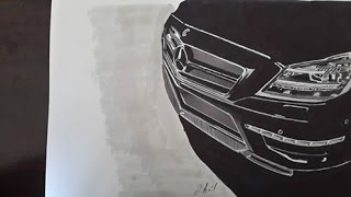 Hyper realistic mercedes benz cls 63 amg drawing