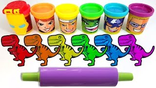 Learn Colors with Play Doh Dinosaur Molds