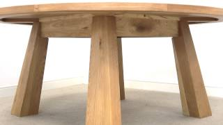 Country Oak 1.8m Large Round 8 Seater Oak Dining Table