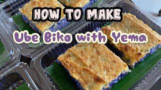 HOW TO MAKE UBE BIKO WITH YEMA  HOMEMADE  DESSERT  RECIPE